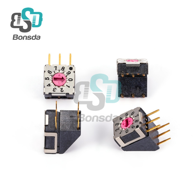 7.4*7.4Rotary DIP Switch Mini MSDR-10H horizontal plug-in 6-pin 10-position rotary coding switch