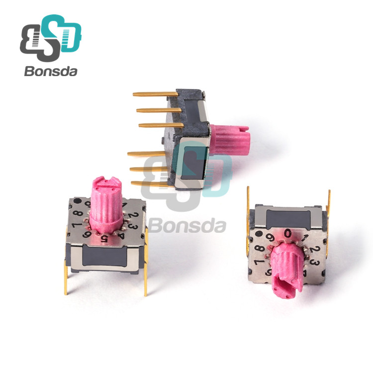 7.4*7.4Rotary DIP Switch MiniMSSR-10 vertical 6-pin plug-in 10 files