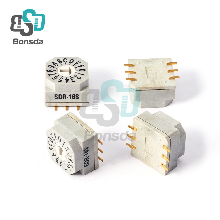 Rotary DIP Switch 10X10 IP67 waterproof DIP Rotary SwitchesSDR-16S vertical 6-foot patch 16 file rotary coding switch
