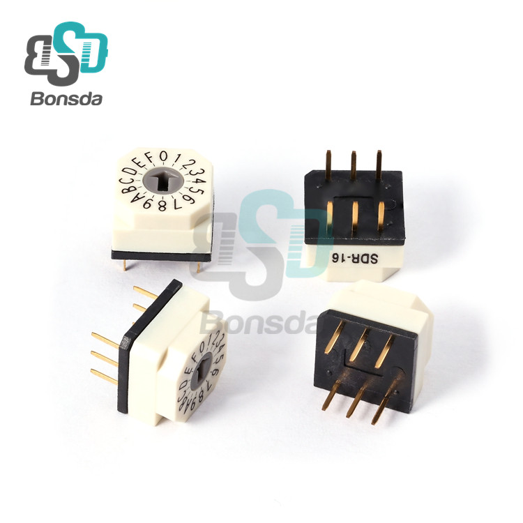 Rotary DIP Switch 10X10 IP67 waterproof DIP Rotary SwitchesSDR-16 Vertical 6-pin plug-in 16-position rotary coding switch