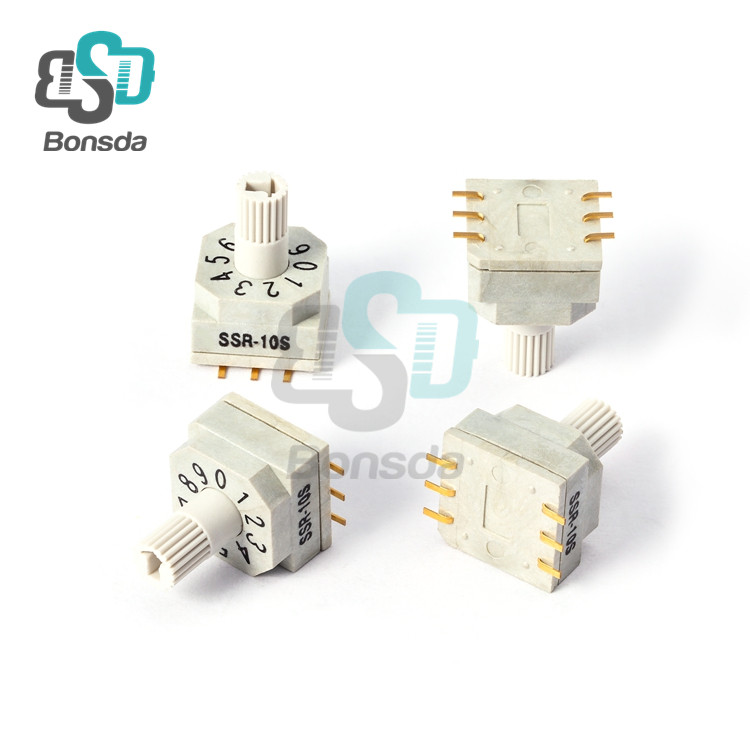 Rotary DIP Switch 10X10 IP67 waterproof DIP Rotary SwitchesSSR-10S vertical 6-foot patch 10 file rotary encoder switch