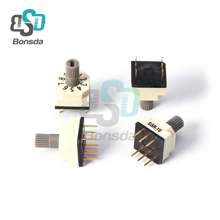 Rotary DIP Switch 10X10 IP67 waterproof DIP Rotary SwitchesSSR-10 Vertical 6-pin plug-in 10-position rotary encoder switch