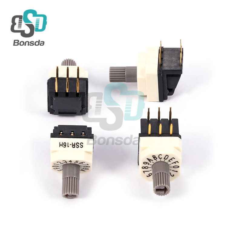 Rotary DIP Switch 10X10 IP67 waterproof DIP Rotary SwitchesSSR-16H horizontal plug-in 6-pin 16-speed rotary coding switch
