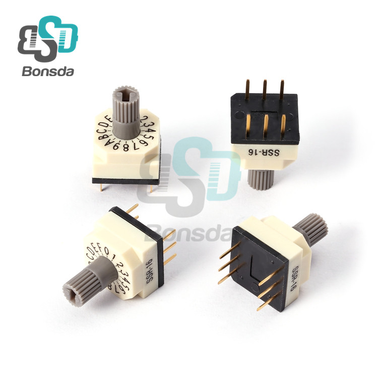 Rotary DIP Switch 10X10 IP67 waterproof DIP Rotary SwitchesSSR-16 Vertical 6-pin plug-in 16-position rotary encoder switch