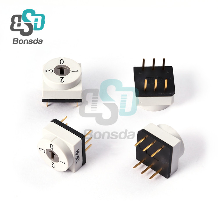 Rotary DIP Switch 10X10 IP67 waterproof DIP Rotary SwitchesTDR-04 vertical 6-pin plug-in 4-position rotary coding switch