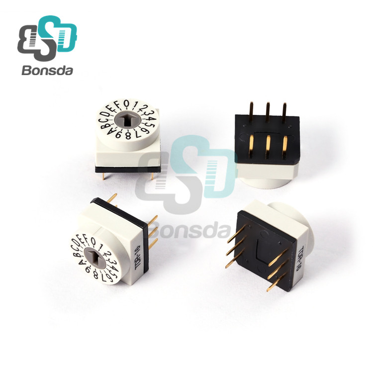 Rotary DIP Switch 10X10 IP67 waterproof DIP Rotary SwitchesTDR-16 vertical 6-pin plug-in 16-position rotary coding switch
