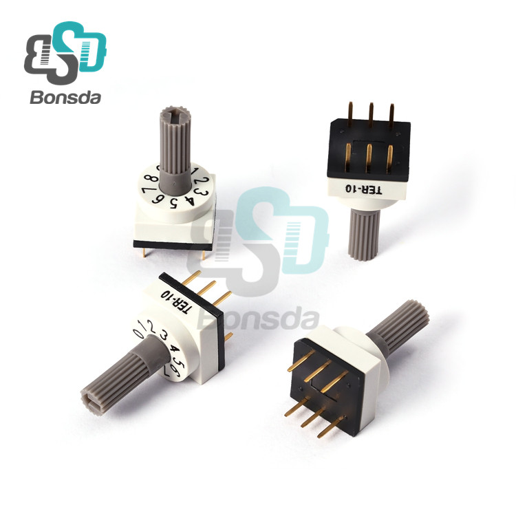 Rotary DIP Switch 10X10 IP67 waterproof DIP Rotary SwitchesTER-10 Vertical 6-pin plug-in 10-position rotary encoder switch