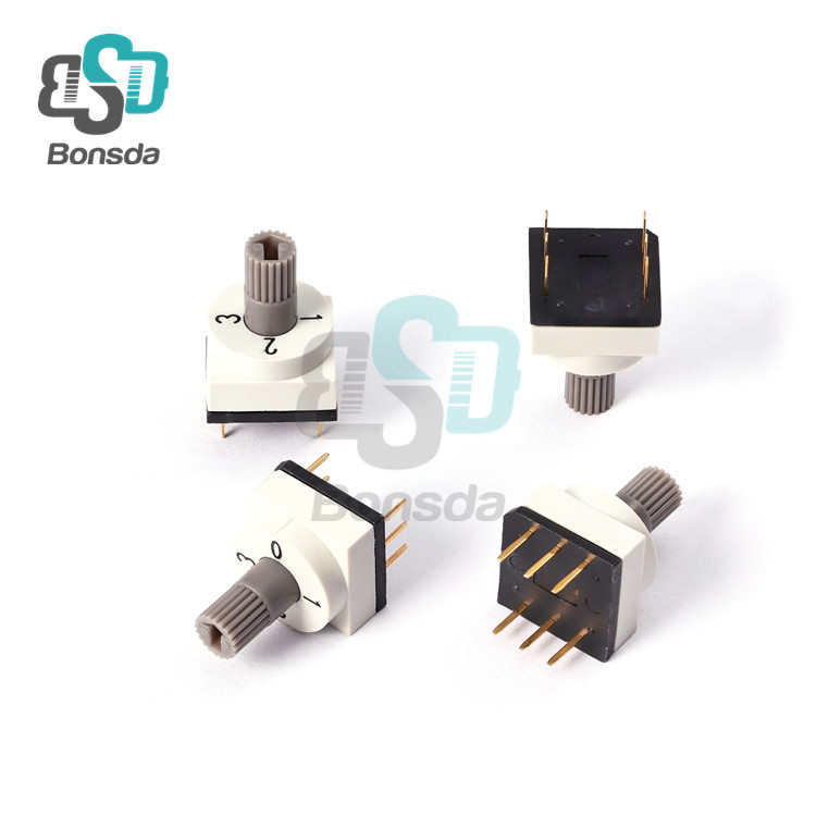 Rotary DIP Switch 10X10 IP67 waterproof DIP Rotary SwitchesTSR-04 Vertical 6-pin plug-in 4-position rotary encoder switch